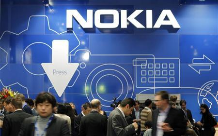 People visit the Nokia area at the Mobile World Congress in Barcelona