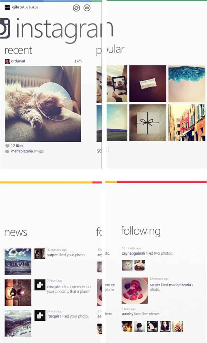 Telas do Instagram para Windows Phone 9
