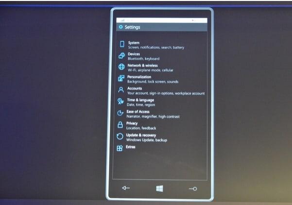 windows-10-for-smartphones menu de configucacoes
