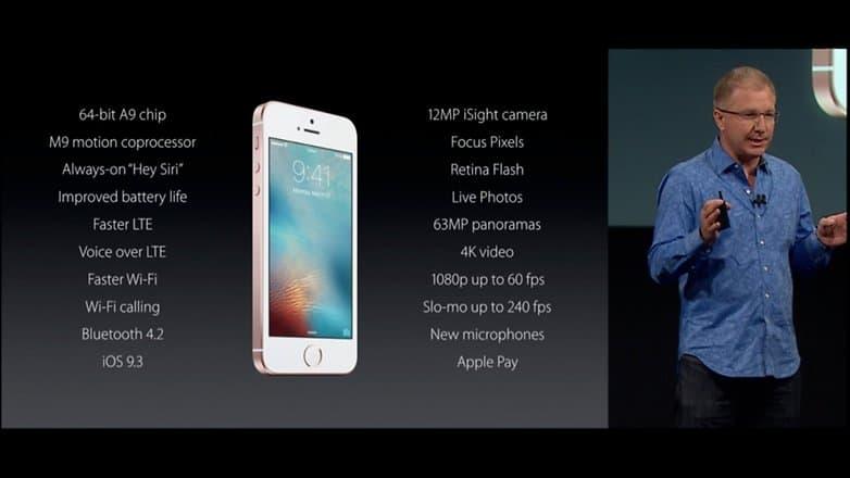 iphone SE especificacoes