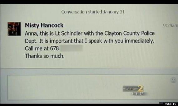 Mensaje de Facebook de la policía de Clayton