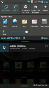 LG Optimus L9 - Área de notificaciones