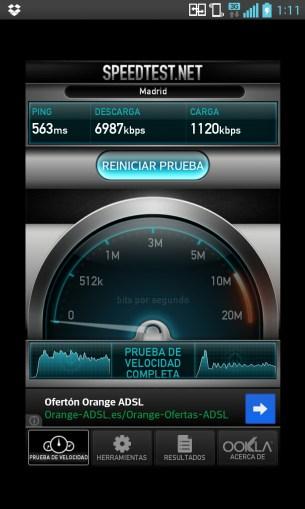 LG Optimus G: Velocidad en 3G