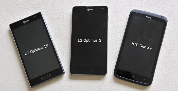LG Optimus G junto con Optimus L9 y HTC One X+