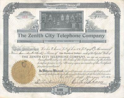Zenith Telephone Company   Telephone Company Histories by THG
