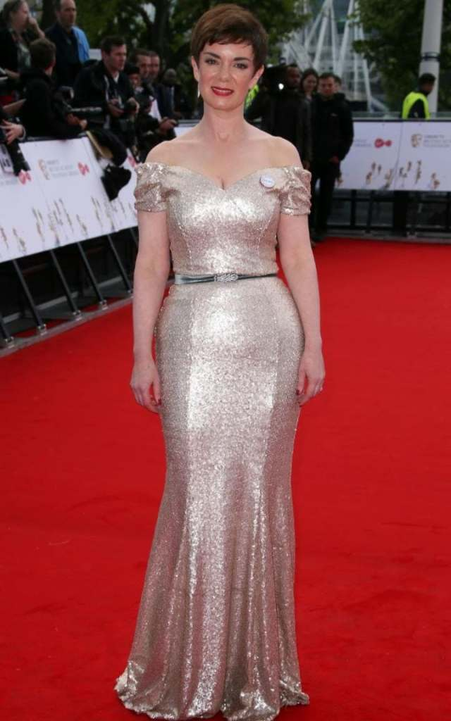 Victoria Hamilton - who played the Queen Mother inThe Crown- chose a sequin gown for the BAFTA TV Awards.
