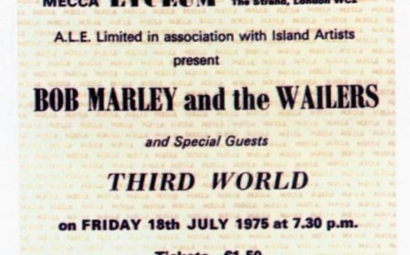 A ticket for Bob Marley and the Wailers' Lyceum concert in June 1975, a landmark moment in London's musical history