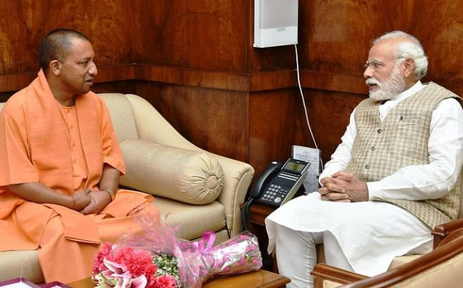 Newly sworn in chief Minister of Uttar Pradesh Yogi Adityanath meets with Indian prime minister Narendra Modi in New Delhi, March 21, 2017