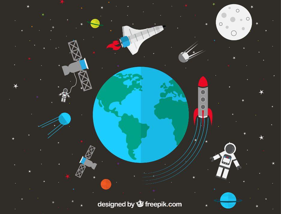 lua-terra-satelite-universo-foguete-planeta