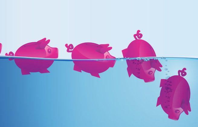 TeleSintese-Porco-Porquinho-afundando-poupanca-afogando-investimento-caindo-descendo-Fotolia_85086213