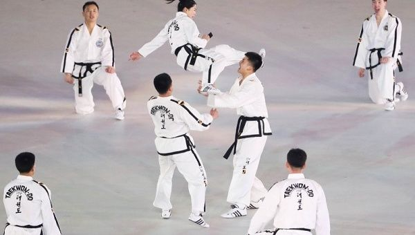 Winter Olympics North and South Korea Stage \u0027Peace Taekwondo
