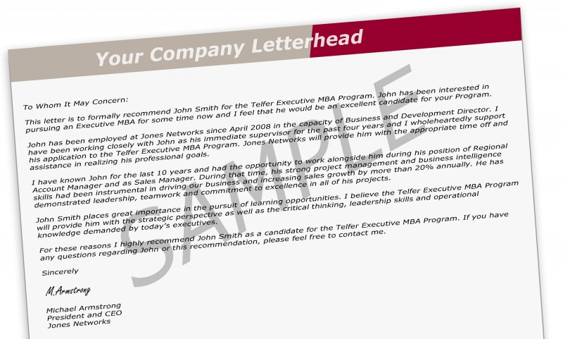 Reference Letter Guidelines - Executive MBA - Telfer School of - mba recommendation letter