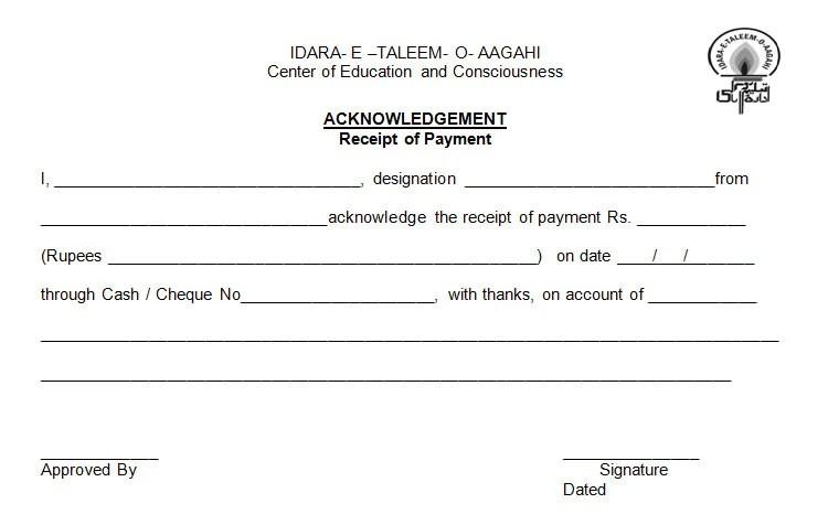 Payment Receipt Letter Format – Sample Payment Receipt
