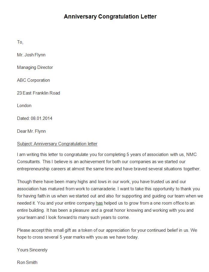 Sample Congratulation Letter Company Anniversary – Congratulation Letter