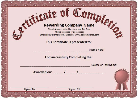 free word certificate template - certificate layout
