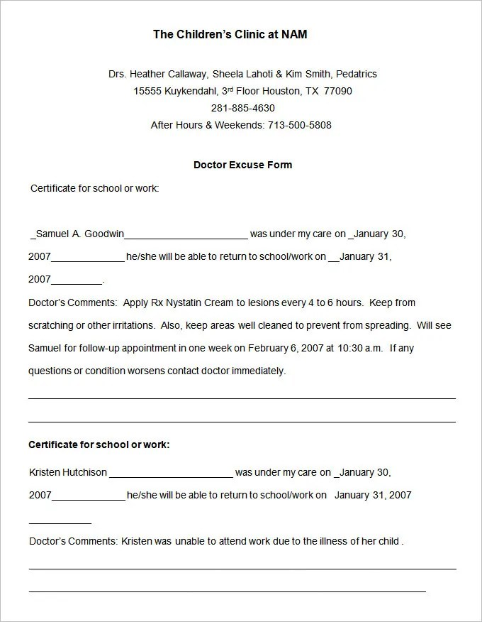 texas med clinic doctors note