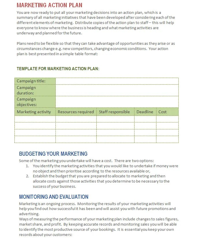 marketing action plan format - Manqalhellenes