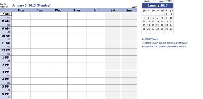 daily schedule calendar template