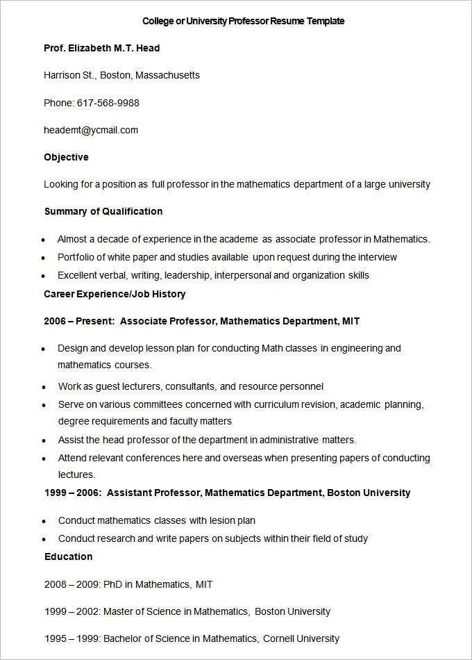 Cover Letter For Teaching Job Without Experience DocumentsHub Com Job Resume  Samples MyPerfectResume Com  Professor Resume