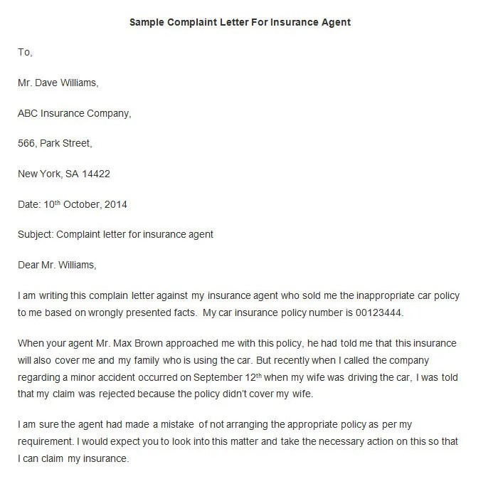 Complaint Letters To Insurance Companies – Complaint Letters to Companies