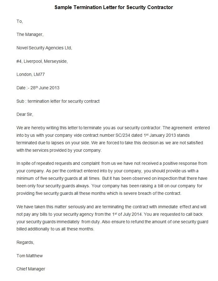 agreement termination letter template