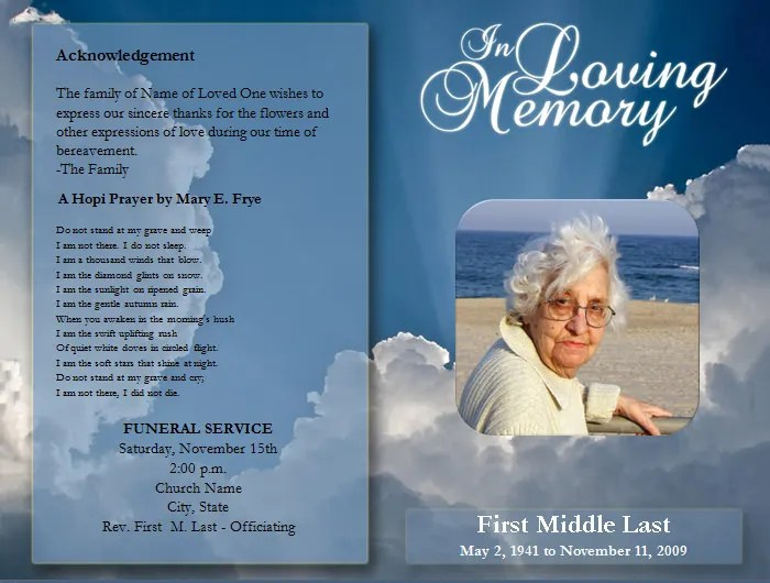 Free Funeral Program Template e-commercewordpress