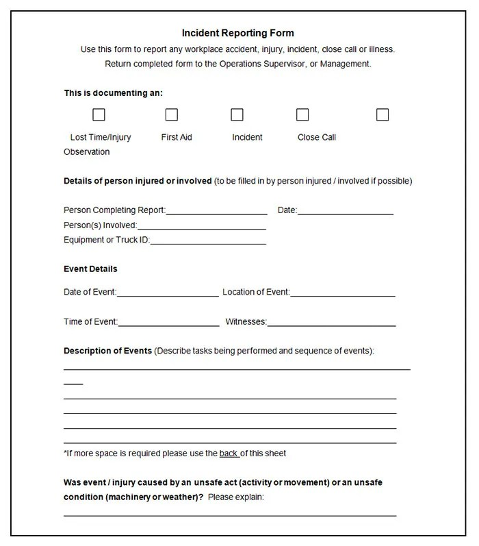 business incident report template - injury incident report template