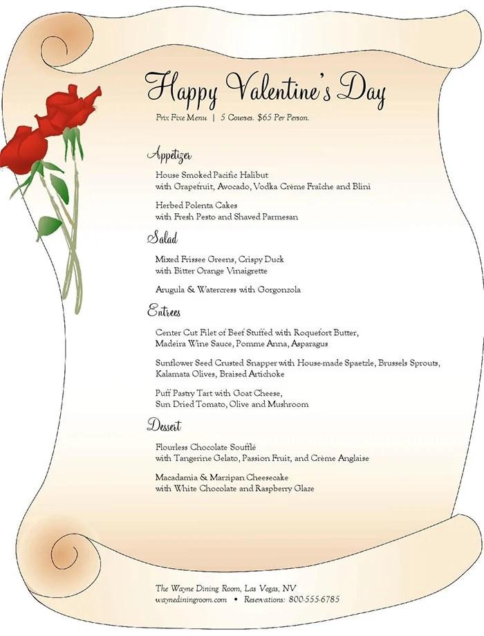 valentine\u0027s day dinner menu template - free menu templates for microsoft word