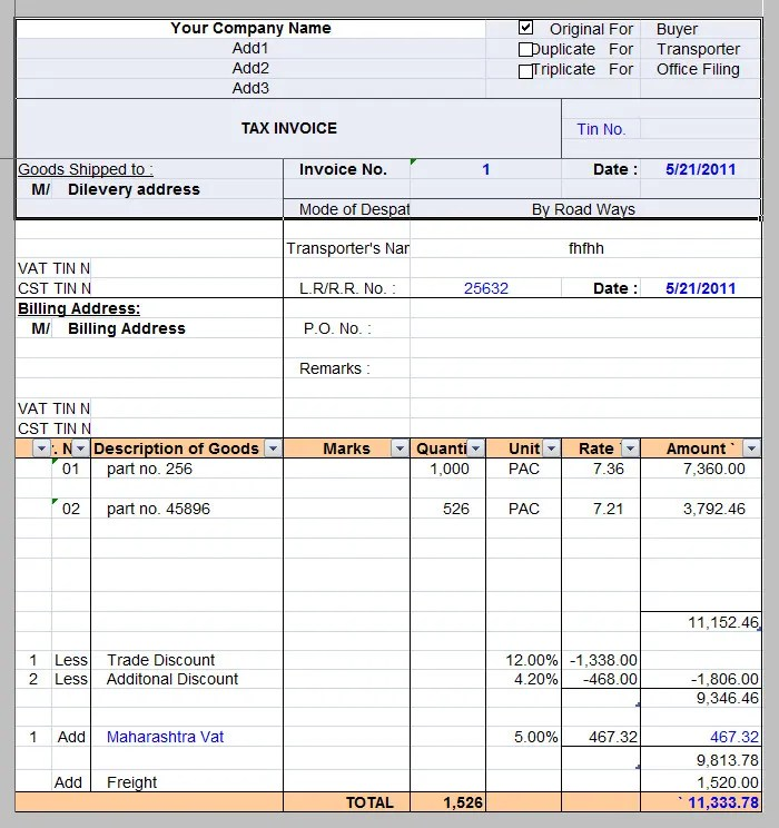 tax invoice template - Tax Invoice Layout