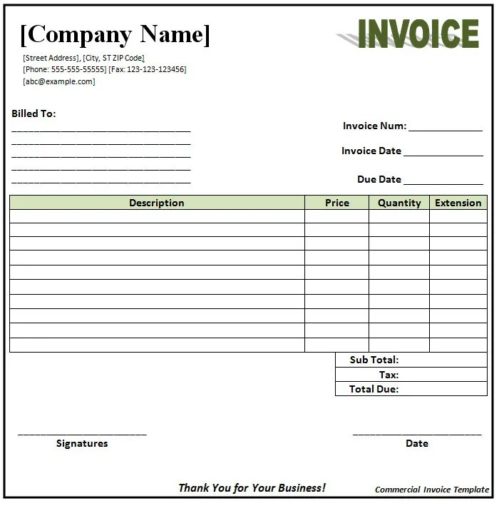 commercial invoice template word - Goalgoodwinmetals - Blank Commercial Invoice
