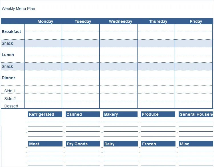 weekly meal plan template excel - Apmayssconstruction