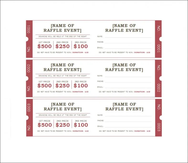 Free Raffle Ticket Template With Numbers. Define Career Success