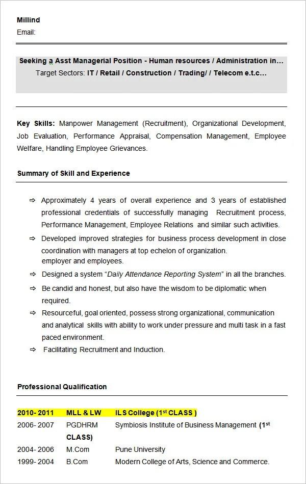cv format hr executive fresher 40 hr resume cv templates hr templates free and premium templates