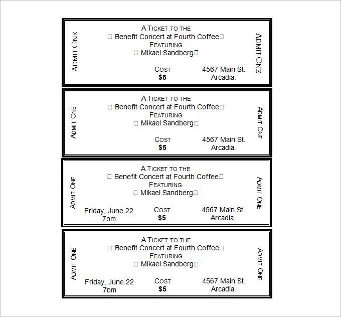 Show Ticket Template Fake Concert Ticket GeneratorDoc600253 – Show Ticket Template