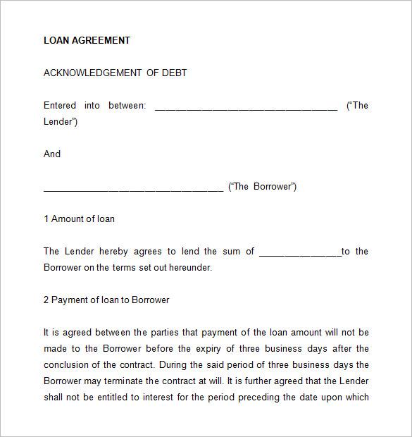 Simple Loan Agreement Download – Money Lending Agreement Format