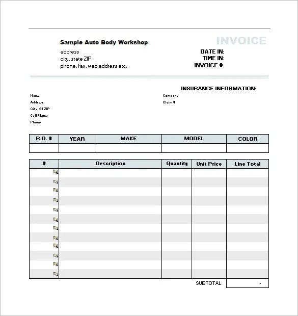 estimate document, Invoice examples