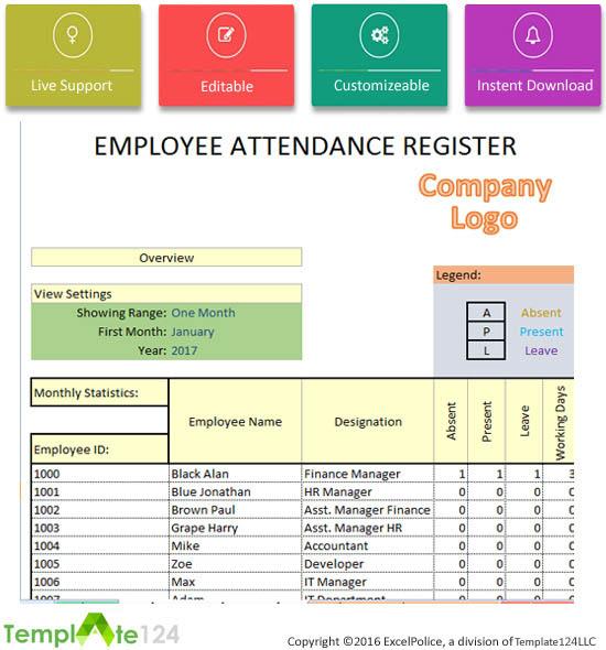 employee monthly attendance sheet template excel - Military - attendance sheet excel template