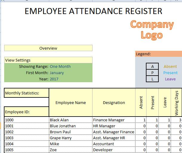Monthly Employee Attendance Sheet Excel Format - Employee Template - attendance register sample