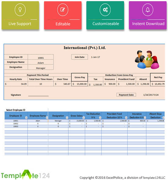 Printable Employee Payroll Template Excel 2017 Template124