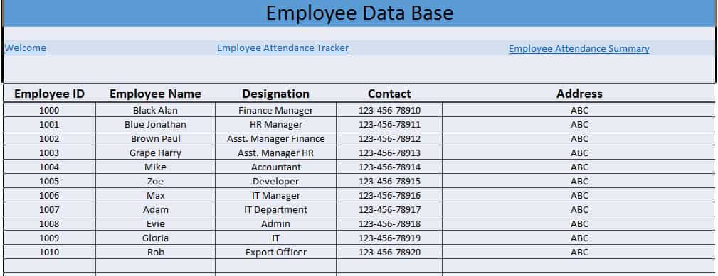 staff daily attendance sheet - attendance tracking system in excel
