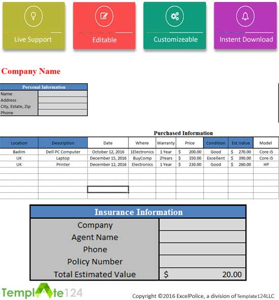 Purchase Stock Inventory Template Excel Template124