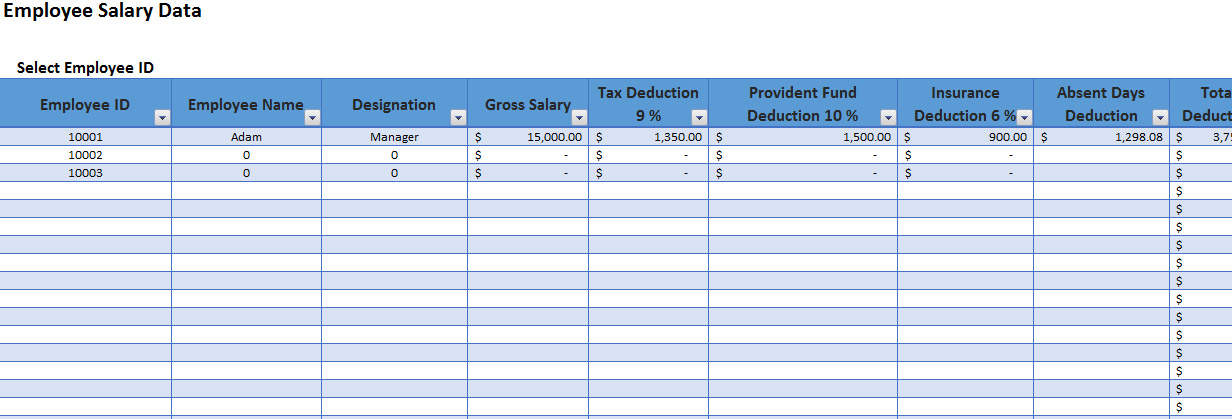 Employee Salary Slip Format Excel with Payroll Tracker Template124 - payroll slip format