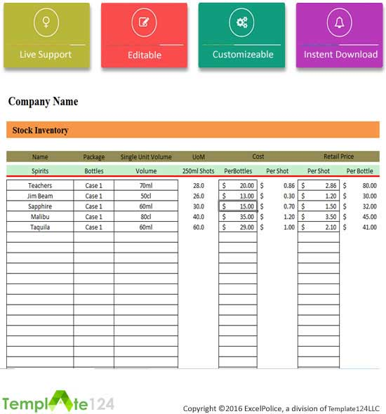 Free Stock Inventory Template XLSX 1 Page(s) Template124 - company inventory template