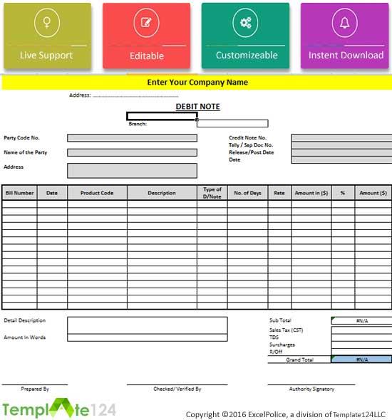 8+ Debit Note Format in Excel {Review} Template124