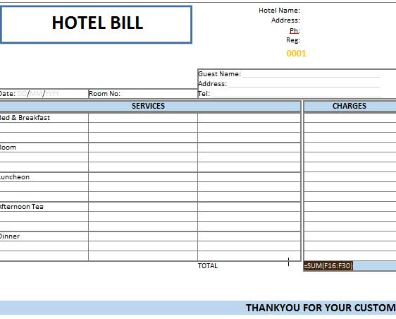Booking Receipt Template / Guest Bill used in hotels Template124