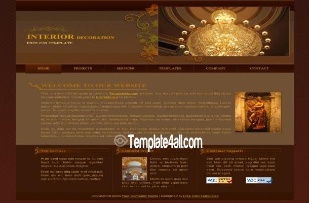 Interior Design Brown Website Template Download - interior design web template