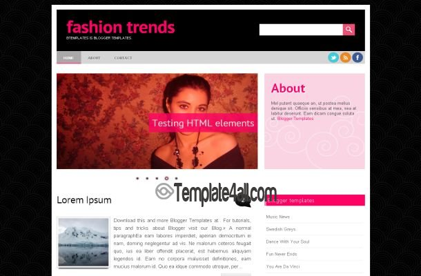 Black Pink Fashion Blogger Layout Template