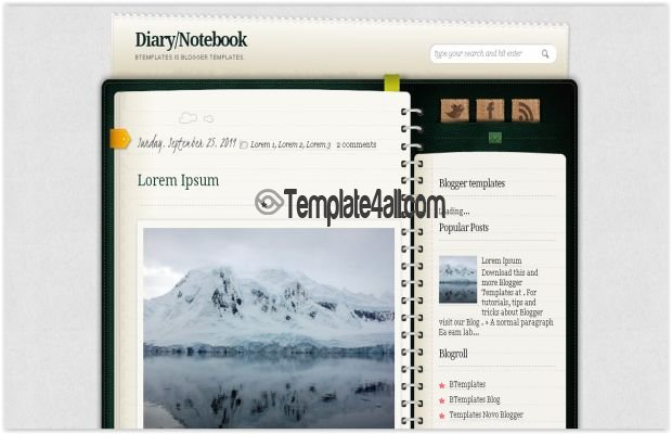 Free Cute Notes Book Blogger Template Download - free cute blogger templates