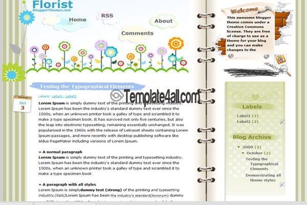 Free Blogger Flowers Shop Blog Web20 Template - free cute blogger templates