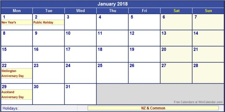 2018 Calendar Nz \u2013 templates free printable